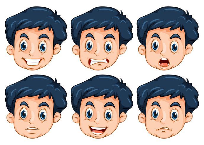 Man met zes verschillende emoties vector