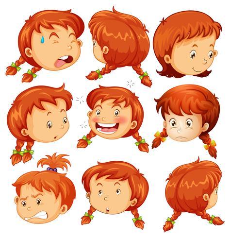 Fille avec différentes expressions faciales