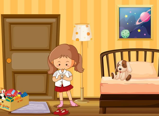 Fille s'habiller en uniforme d'école dans la chambre