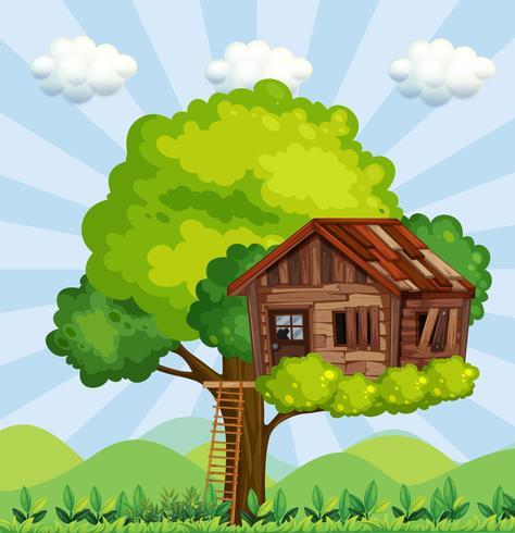 Escena con casa del árbol en el parque