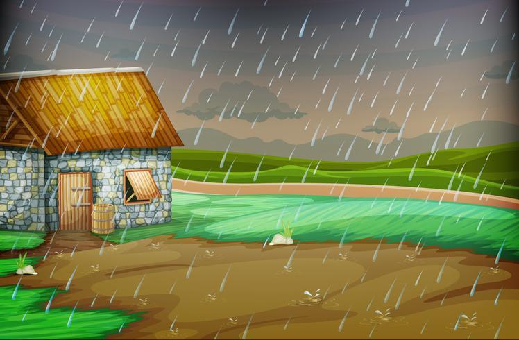 Landschaftsszene mit kleiner Hütte im Regen