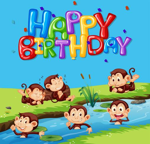 Gelukkige verjaardag sjabloon met aap