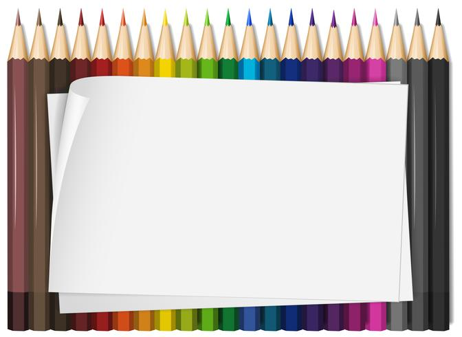 Blank paper with colorful color pencils