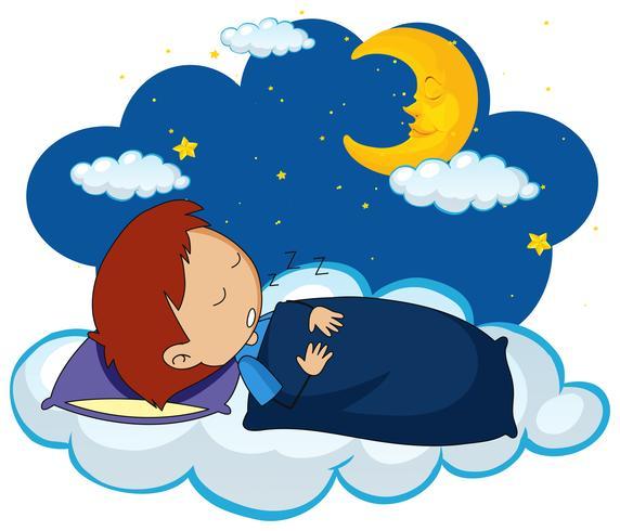Ragazzo che dorme di notte vettore