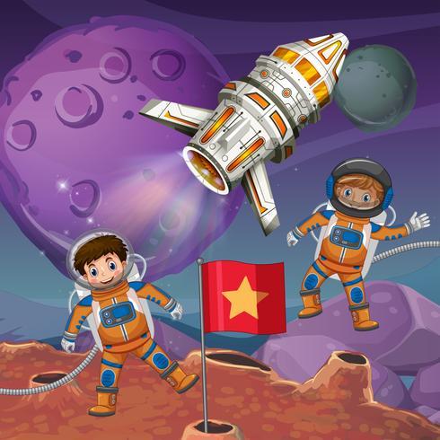 Due astronauti che volano intorno alla superficie del pianeta