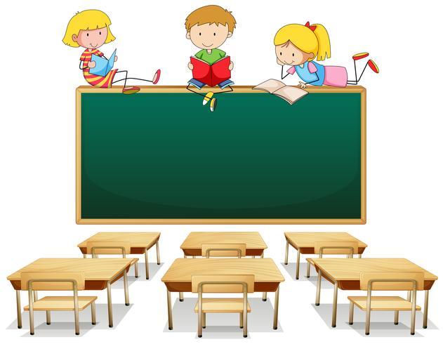 Tre barn i klassrummet