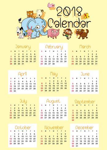 Modelo de calendário para 2018 com animais fofos