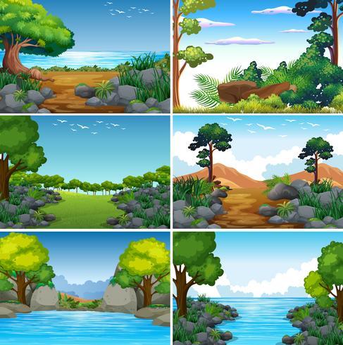 Conjunto de hermoso paisaje de naturaleza verde