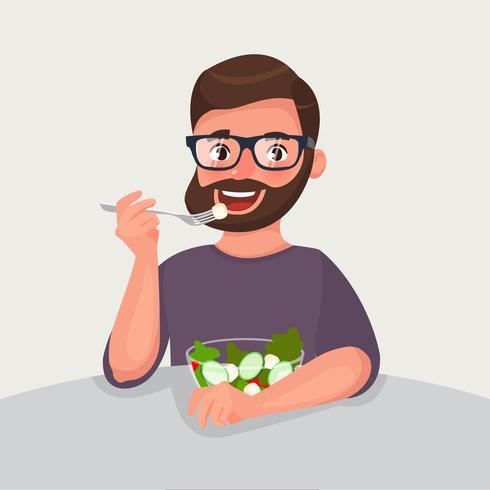 Hipster baard man is het eten van een salade. vector