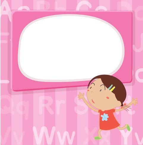 Grensmalplaatje met meisje op roze achtergrond