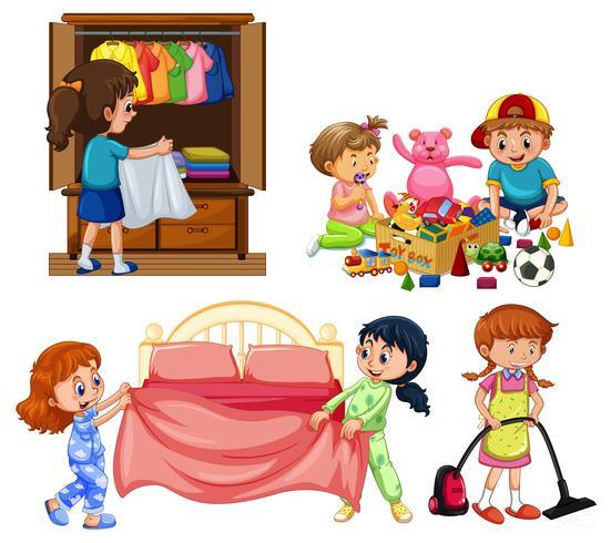 Goede kinderen die huishoudelijk werk doen op een witte achtergrond vector