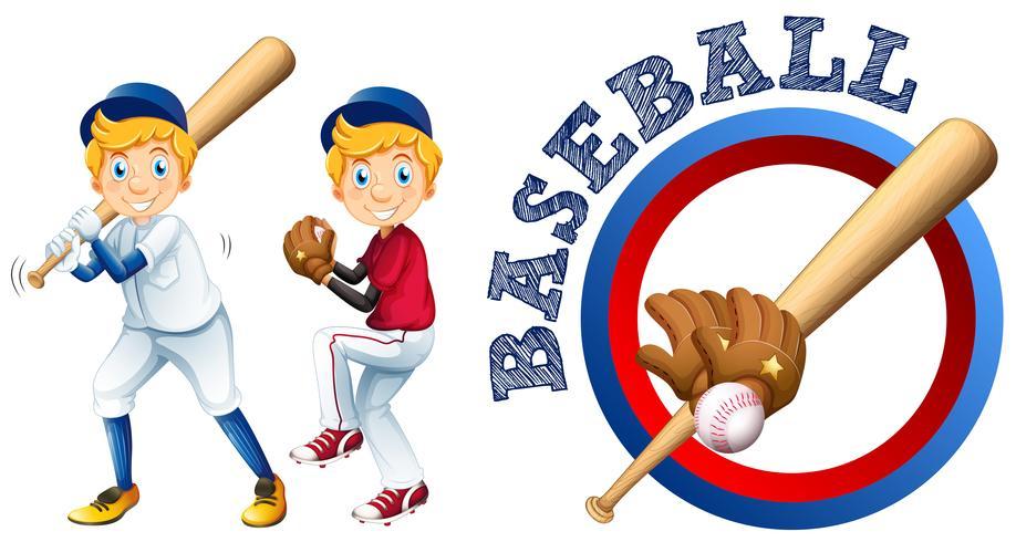 Jogadores de beisebol e design de logotipo vetor