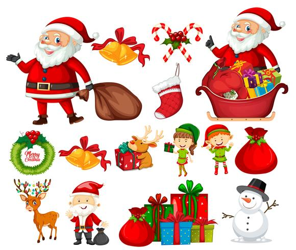Set di elementi di Natale vettore