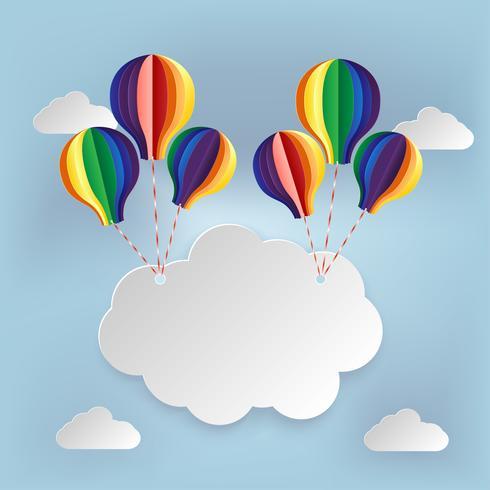 Papierkunst uithangbord wolk op hemel vector