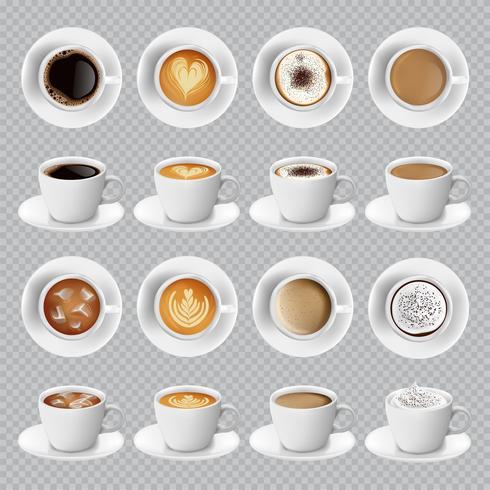 Realistische verschillende soorten koffie vector