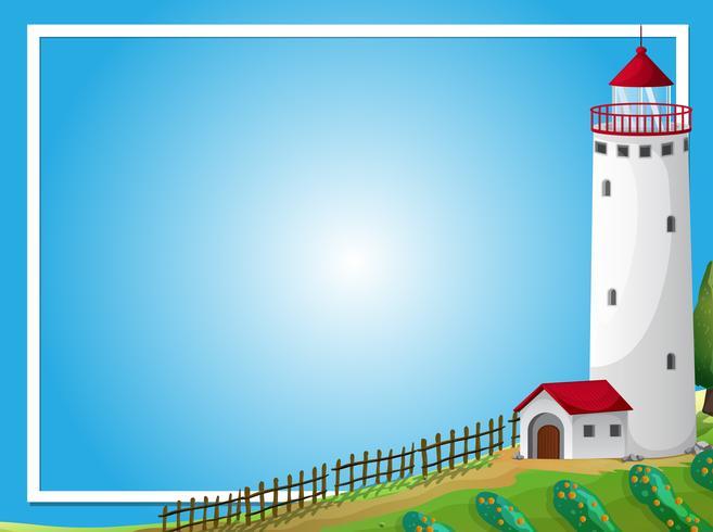 Rahmenschablone mit Leuchtturm und Bauernhof
