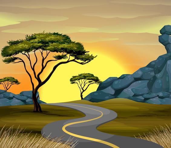Straßenszene zur Sonnenuntergangzeit