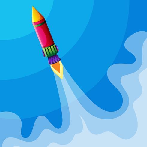 Raket vliegt hoog in de lucht