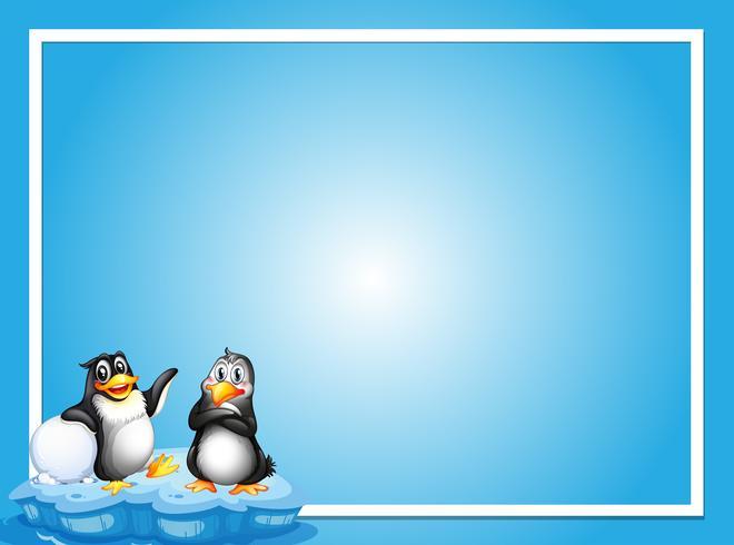 Grensmalplaatje met twee pinguïnen op ijs