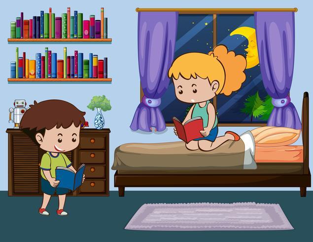 Menino e menina lendo livro no quarto