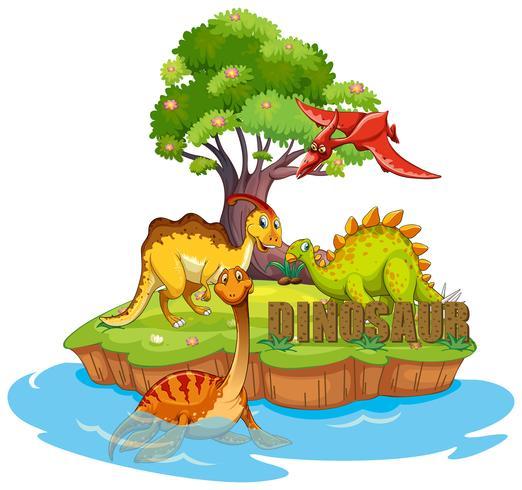 Dinosaurussen op het eiland