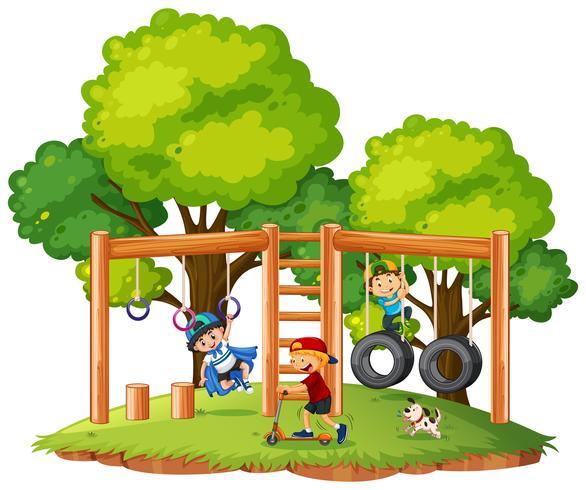 Jongens spelen in de speeltuin vector