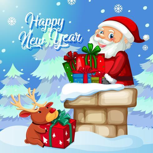 Santa con presente en plantilla de navidad