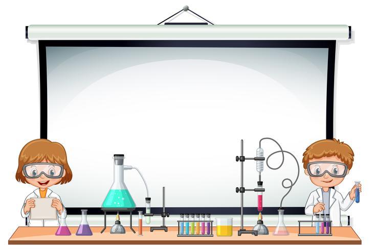 Modelo de fronteira com crianças no laboratório de Ciências vetor