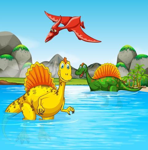 Dinosaures préhistoriques dans une scène de l'eau