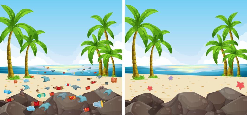 Poluição cena praia e limpos vetor