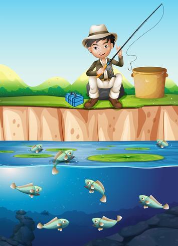 Un uomo che pesca allo stagno