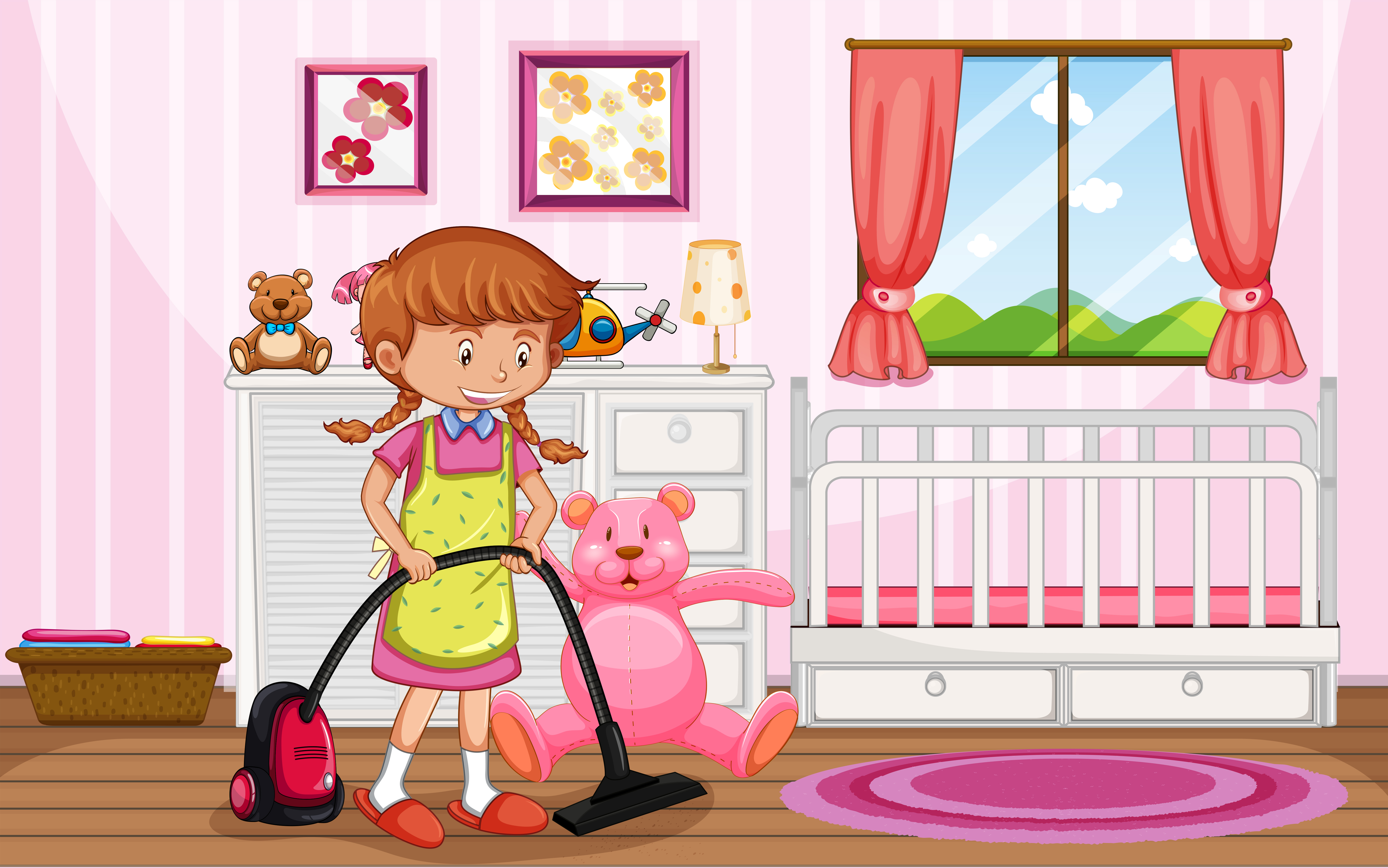 A Mother Cleaning Kid Bedroom - Download Free Vectors ...
