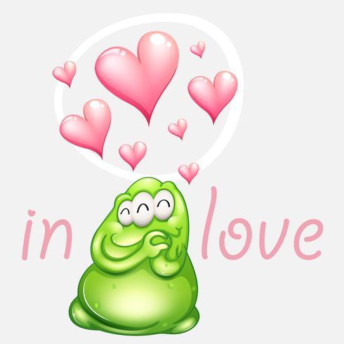 Groen monster in liefde met roze harten vector