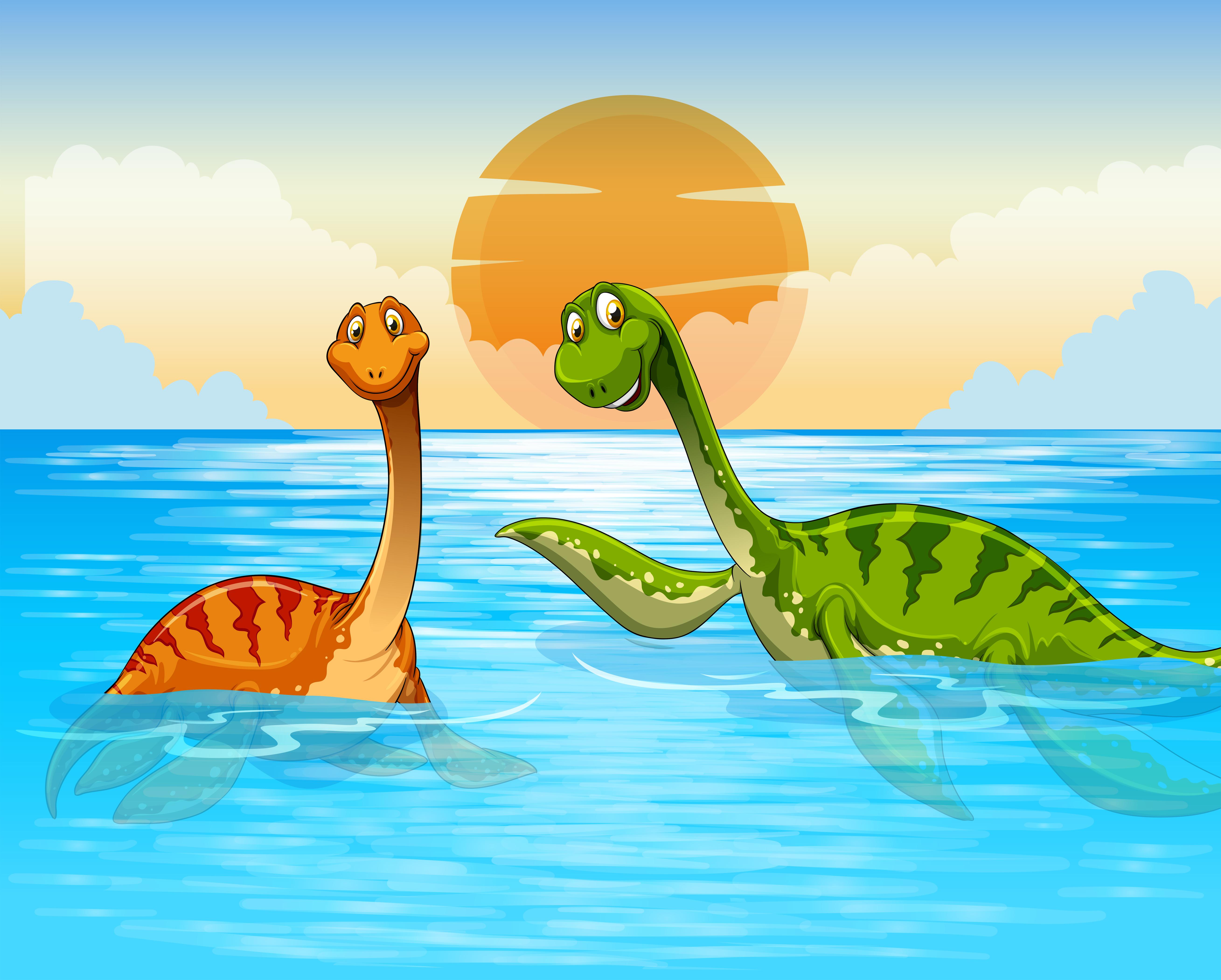 Dinosaur Swimming In The Ocean Download Free Vector Art