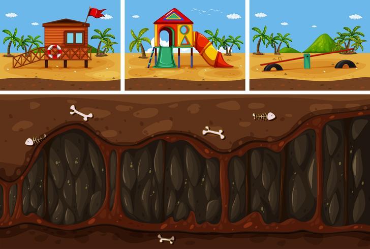 Een vector van land en ondergronds