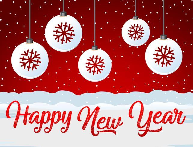 Feliz ano novo cartão vermelho vetor