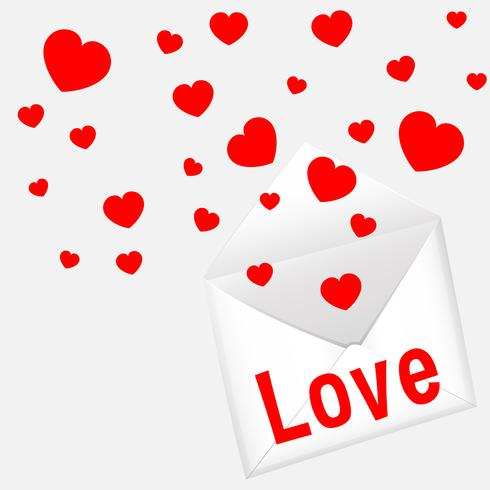 Card template for valentine's day with hearts and letter