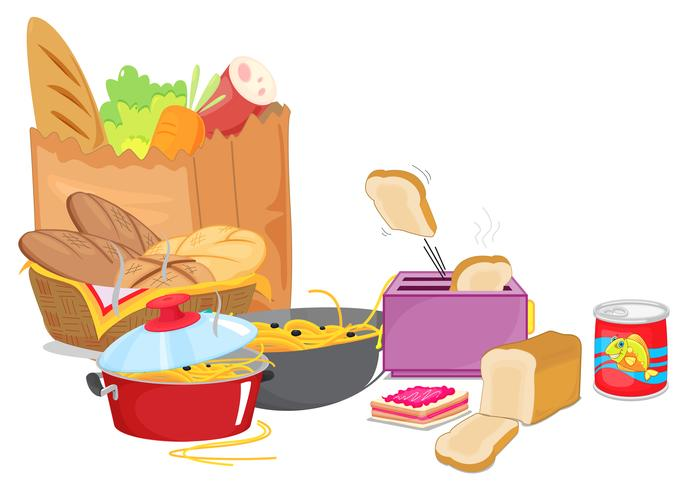 Diversi tipi di cibo con verdure e pasta