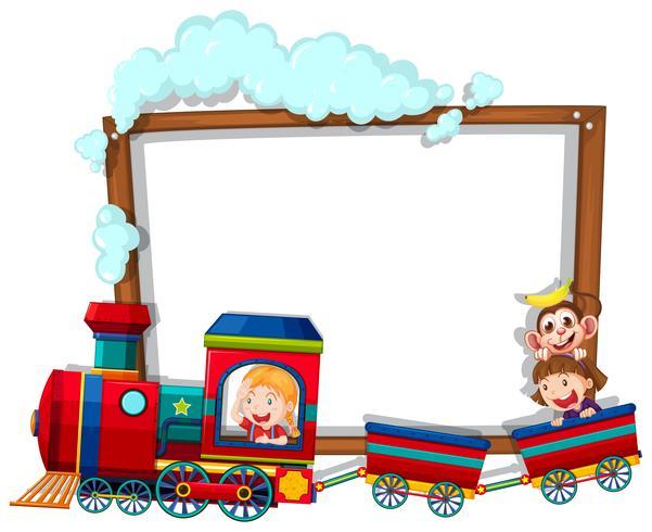 Modelo de fronteira com as crianças no trem vetor