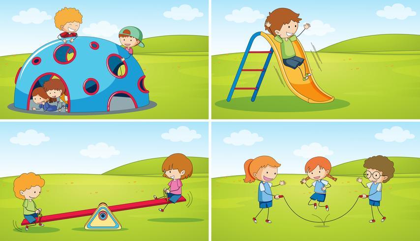 Satz von Kindern am Spielplatz