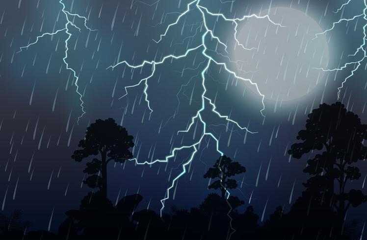 En åskväder och regn natt
