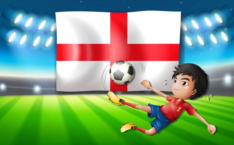 jugador de fútbol enfrente de la bandera inglesa