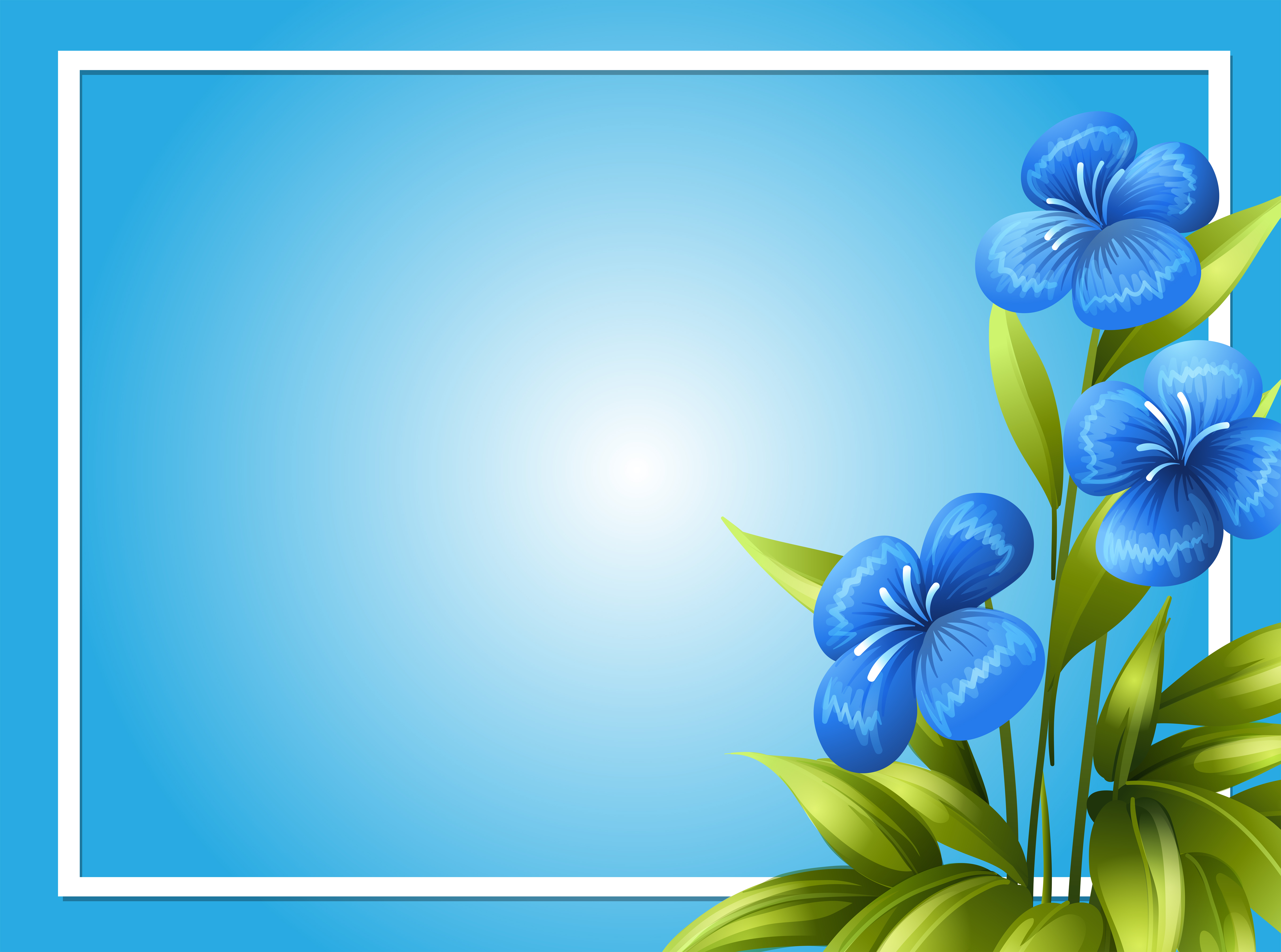 border template with blue flowers download free vector