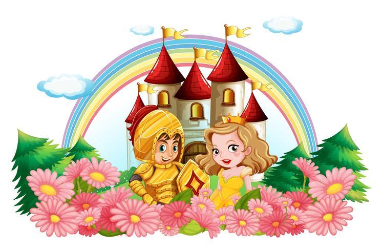 Cavaliere e principessa in giardino fiorito