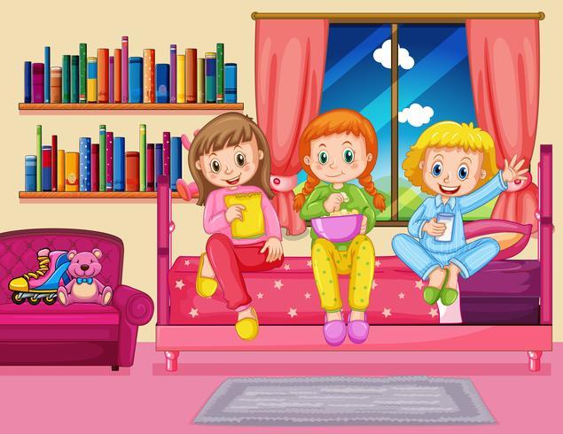 Tre ragazze che mangiano spuntino in camera da letto vettore
