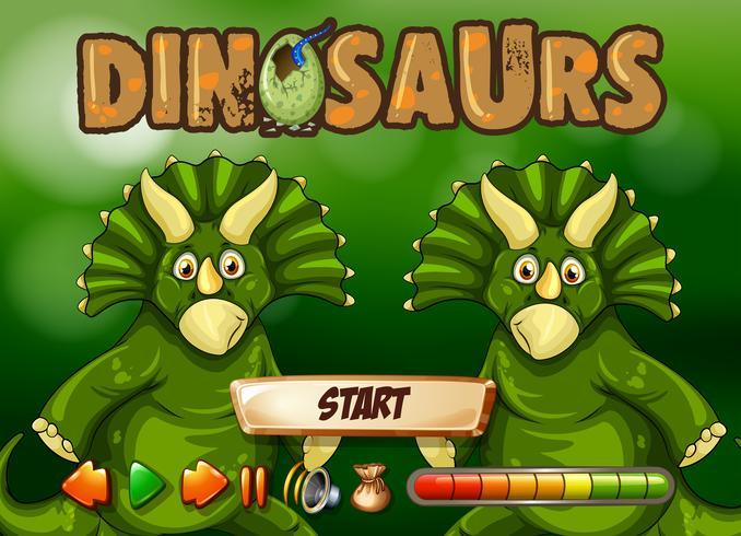 Spielvorlage mit zwei Triceratops