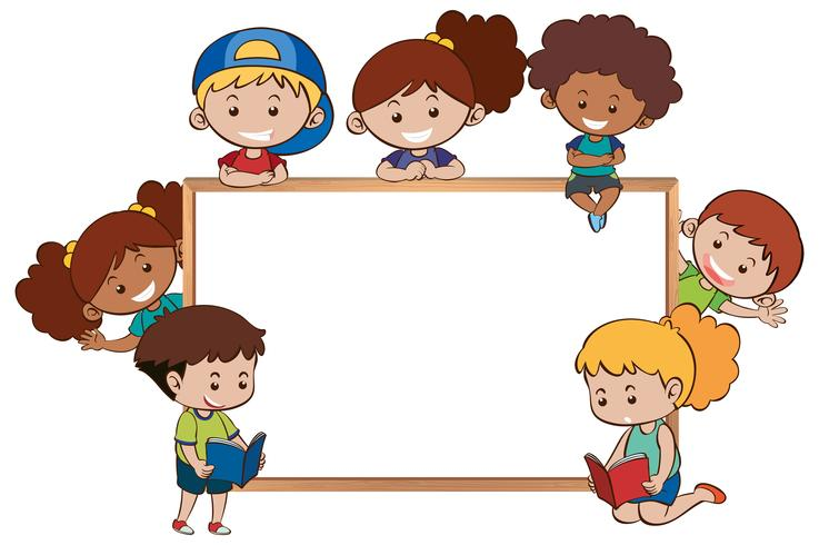 Whiteboard en gelukkige kinderen eromheen