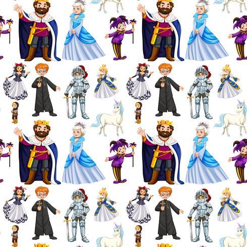 Diseño sin costuras con personajes de cuento de hadas.