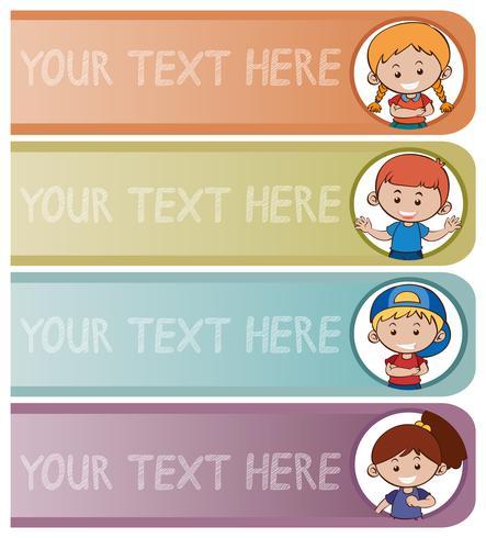 Vier bannermalplaatjes met gelukkige jonge geitjes