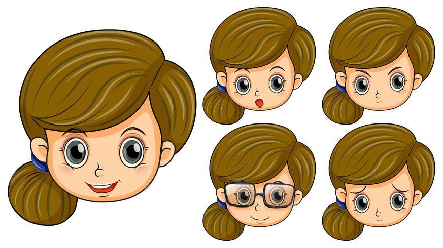 Leuk meisje met vijf verschillende emoties